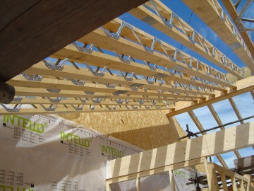Eco rafters use minimum timber with large space for insulation.